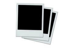 Drei Polaroide auf Weiß Stockbild