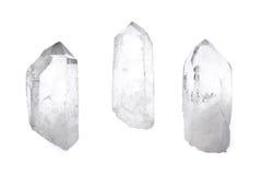 Drei Quarzkristalle stockfotos