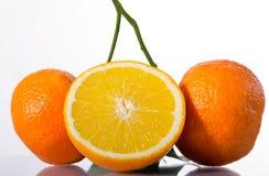 Drei reife Orangen Lizenzfreie Stockfotografie