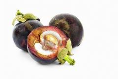 Drei reifen Mangostanfrüchte Stockbilder