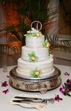 Drei Reihe-Hochzeits-Kuchen mit Blumen Lizenzfreie Stockbilder