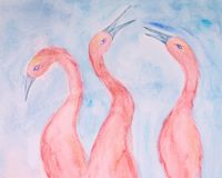 Drei rosa IBIS auf einem blauen Hintergrund stockbild
