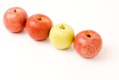 Drei rote Äpfel und ein grüner Apfel Lizenzfreie Stockfotografie