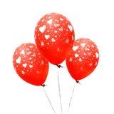 Drei rote Ballone Stockfotografie