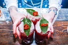 Drei rote blutige Mary Cocktails stockfoto
