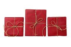 Drei rote Geschenke Stockfotos