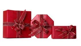 Drei rote Geschenke Lizenzfreie Stockfotografie