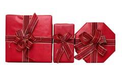 Drei rote Geschenke Lizenzfreies Stockfoto
