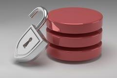 Drei rote Scheiben im Stapel und in entriegeltem Stahlvorhängeschloß Greifen Sie bewilligt zu den Daten oder zur Datenbank zu Kon stockbild