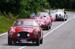 Drei roter Ferrari-und eines weiße Jaguarklassikers Autos Lizenzfreies Stockfoto