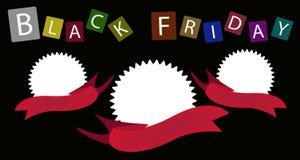Drei runde Fahnen auf Black Friday-Hintergrund Lizenzfreie Stockfotografie