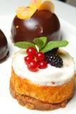 Drei süße Kuchen Lizenzfreies Stockbild