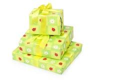 Drei schöne Geschenkboxen getrennt Lizenzfreies Stockfoto