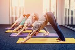 Drei schöne Mädchen und Mann tun Yoga in der Mitte von Yoga und von Badekurort lizenzfreies stockfoto
