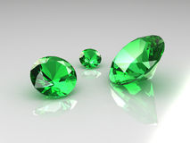 Drei schöne Smaragde Stockfotos