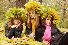 Drei Schönheiten in einem Kranz stockfotos