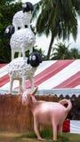 Drei Schafe und Ziege Pattaya-Schäferei Stockbilder