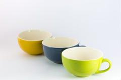 Drei Schalen Farbe des Kaffees Stockfoto