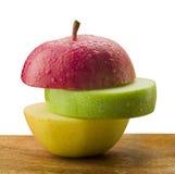 Drei Scheiben der Äpfel stockbilder
