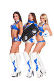 Drei schöne Party-Girls mit DJ-Controller Stockbild
