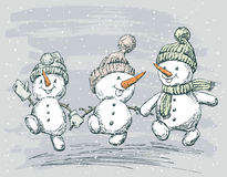 Drei Schneemänner Lizenzfreie Stockfotografie