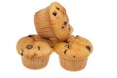 Drei Schokoladenmuffins getrennt auf einem Weiß Lizenzfreie Stockfotos
