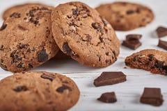 Drei Schokoladenplätzchen Stockbild