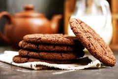 Drei Schokoladenplätzchen Stockbilder