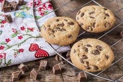 Drei Schokoladenplätzchen Stockfotografie
