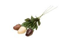 Drei Schokoladenrosen lokalisiert auf weißem Hintergrund Stockfotos