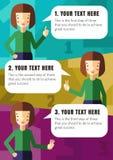 Drei Schritte der Realisierung Ihre Idee mit Brunettemädchen Stockbilder