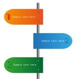 Drei Schritte nummeriert in den verschiedenen Farben Stockbilder