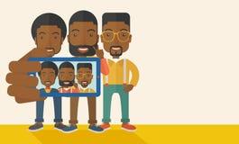 Drei schwarze Männer, die selfie nehmen Lizenzfreie Stockfotografie