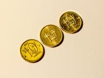Drei schwedische Münzen von zehn crownes Lizenzfreie Stockfotos