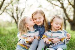 Drei Schwestermädchen, die auf dem grünen Park im Freien spielen Lizenzfreie Stockfotografie
