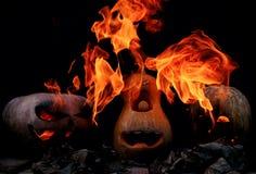 Drei sehr furchtsam und gefährliche Halloween-Kürbise, mit einer Drohung Stockbilder