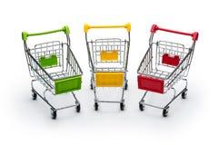 Drei shopphing Minikörbe Stockbilder