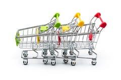 Drei shopphing Minikörbe Lizenzfreie Stockfotos
