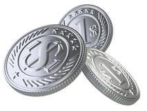 Drei Silbermünzen geworfen in die Luft Stockfotografie