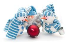 Drei snowmens Stockfoto