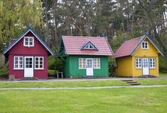 Drei Sommerhäuser Stockfotos