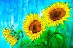Drei Sonnenblumen Lizenzfreie Stockfotografie