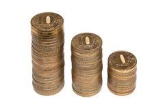 Drei Spalten 10-Rubel-Münze Stockbild