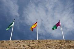 Drei Spanien-Flaggen Stockfotografie