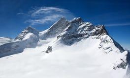 Drei Spitzen in den Schweizer Alpen: Monch, Jungrau, Eiger Lizenzfreies Stockfoto