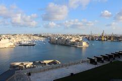 Drei Städte, wie von Valletta, Vittoriosa, Senglea, Cospicua, Malta gesehen Stockfotos