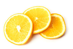 Drei Stücke der Orange lokalisiert auf Weiß Stockfotografie
