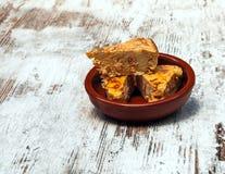 Drei Stücke des spanischen Omeletts Stockfotografie