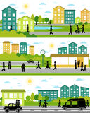 Drei Stadtlebenszenen lizenzfreie abbildung