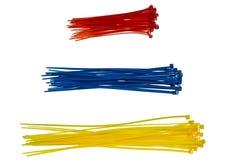Drei Stapel von Kabelbindern Stockfoto